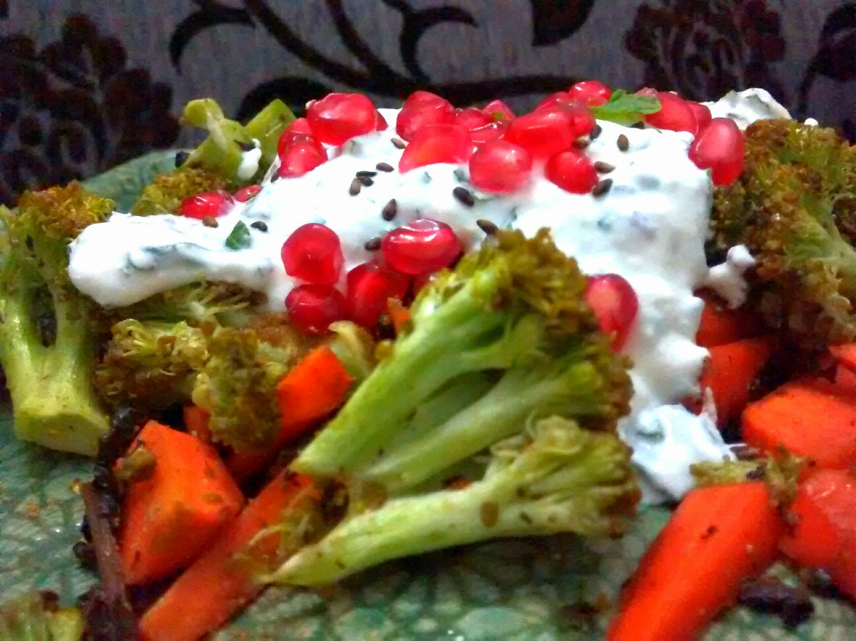Roasted carrot and broccoli with a mint yoghurt dressing ...