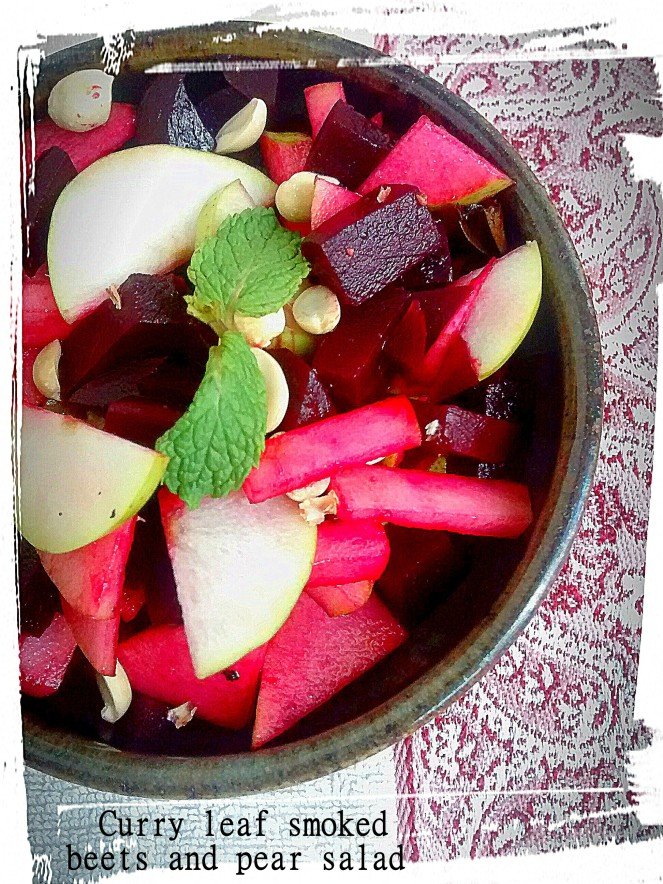 Curry leaf smoked beets and pear