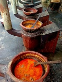 The modern mud pots that are used to cook are fueled by firewood — at Trichy Tamilnadu.