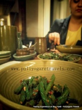 Fried string green beans in chilli paste
