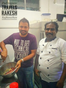 With Chef. Nithya, teaching him to make Steamed Roly Poly Jam Pudding