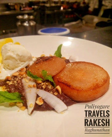 Chocolate lovers dream come true - Chocolate risotto, coconut caramelized pears, hazelnut crush