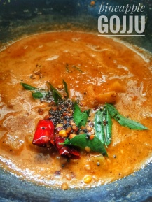 Pineapple Gojju - A tangy/sweet gravy made in temple town of Udupi. Served with Sannas.