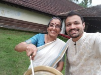 Smt. Sreedevi teaches me how to make it in a 300 year old mansion