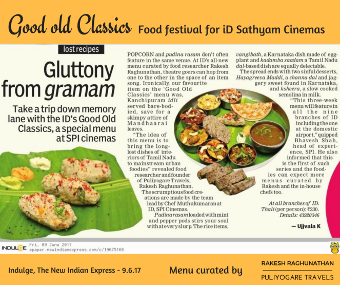 Good Old Classics food festival for iD, Sathyam Cinemas
